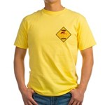 Flamingo Crossing Sign Yellow T-Shirt