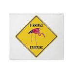 Flamingo Crossing Sign Throw Blanket