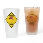 Flamingo Crossing Sign Drinking Glass