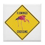Flamingo Crossing Sign Tile Coaster