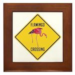 Flamingo Crossing Sign Framed Tile