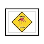 Flamingo Crossing Sign Framed Panel Print