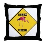 Flamingo Crossing Sign Throw Pillow