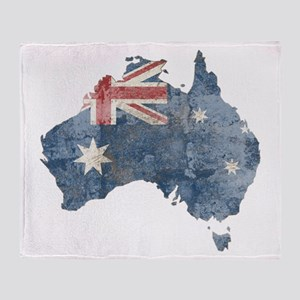 Vintage Australia Flag / Map Throw Blanket