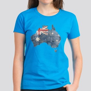 Vintage Australia Flag / Map Women's Dark T-Shirt