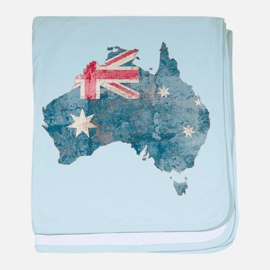 Vintage Australia Flag / Map baby blanket