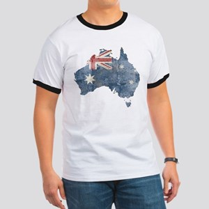 Vintage Australia Flag / Map Ringer T
