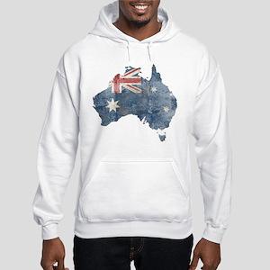 Vintage Australia Flag / Map Hooded Sweatshirt