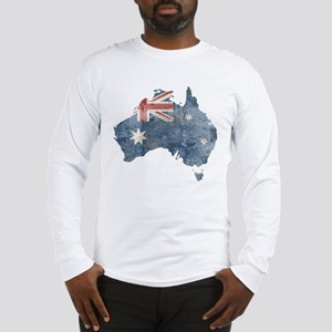 Vintage Australia Flag / Map Long Sleeve T-Shirt