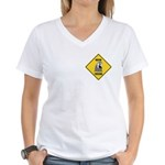 Macaw Crossing Sign Women's V-Neck T-Shirt