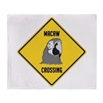 Macaw Crossing Sign Throw Blanket