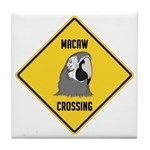 Macaw Crossing Sign Tile Coaster