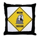 Macaw Crossing Sign Throw Pillow