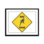 Budgie Crossing Sign Framed Panel Print
