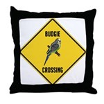 Budgie Crossing Sign Throw Pillow