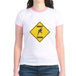 Parakeet Crossing Sign Jr. Ringer T-Shirt