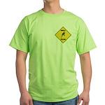 Parakeet Crossing Sign Green T-Shirt