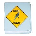 Parakeet Crossing Sign baby blanket