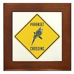 Parakeet Crossing Sign Framed Tile