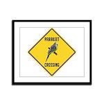 Parakeet Crossing Sign Framed Panel Print