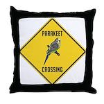 Parakeet Crossing Sign Throw Pillow
