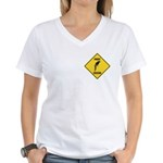 Parrot Crossing Sign Women's V-Neck T-Shirt