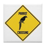 Parrot Crossing Sign Tile Coaster