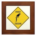 Parrot Crossing Sign Framed Tile
