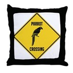 Parrot Crossing Sign Throw Pillow