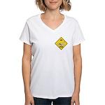 Swan Crossing Sign Women's V-Neck T-Shirt