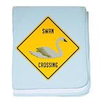 Swan Crossing Sign baby blanket