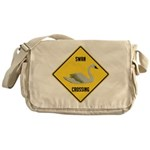 Swan Crossing Sign Messenger Bag