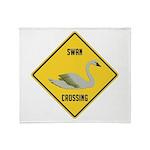 Swan Crossing Sign Throw Blanket