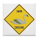 Swan Crossing Sign Tile Coaster