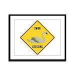 Swan Crossing Sign Framed Panel Print