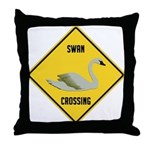 Swan Crossing Sign Throw Pillow