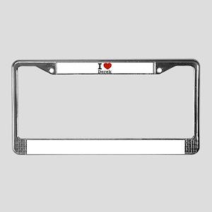 I love Derek License Plate Frame
