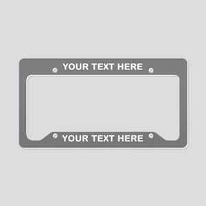 Customize White On Silver License Plate Holder