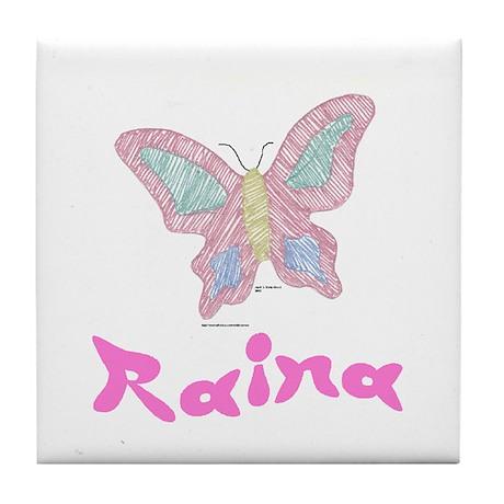 Pink Butterfly Raina Tile Coaster