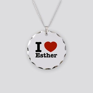 I love Esther Necklace Circle Charm