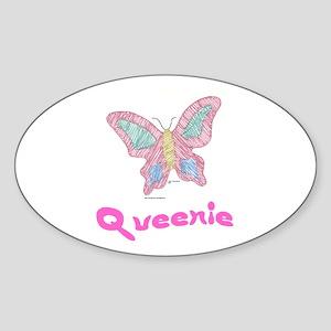 Pink Butterfly Queenie Oval Sticker