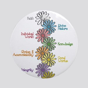 LDS YW Values - Stack of Flow Ornament (Round)