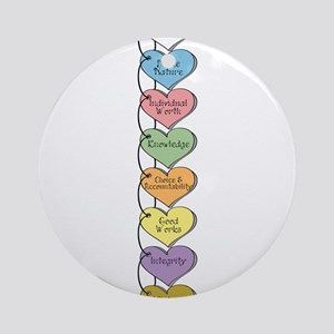 LDS YW Values - Stack of Hear Ornament (Round)