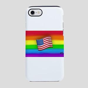 FLAGgay rainbow art iPhone 7 Tough Case