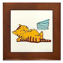 Funny Fat Cat Framed Tile