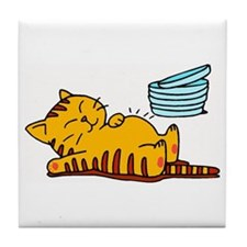 Funny Fat Cat Tile Coaster