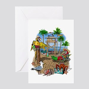 Parrot Beach Shack Greeting Card