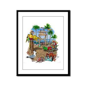 Parrot Beach Shack Framed Panel Print