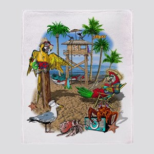 Parrot Beach Shack Throw Blanket