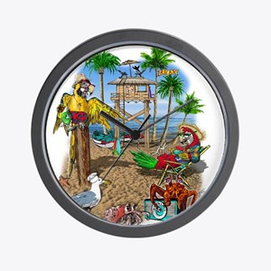 Parrot Beach Shack Wall Clock